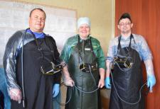 В.В. Ёлкин, Н.И. Долгушева и К.В. Суевалов   с УЗИ-сканерами.